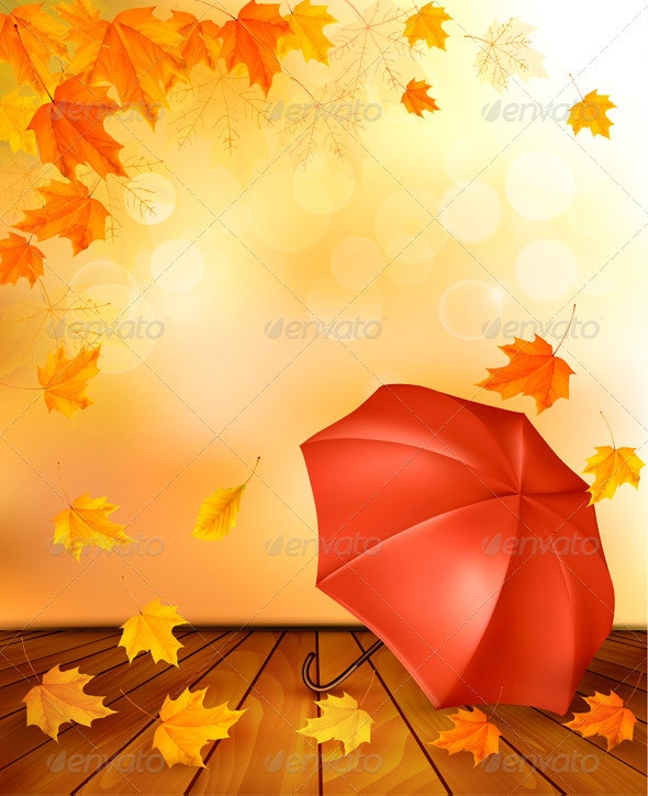 Retro Autumn Background with Colorful Leaves - Seasons Nature