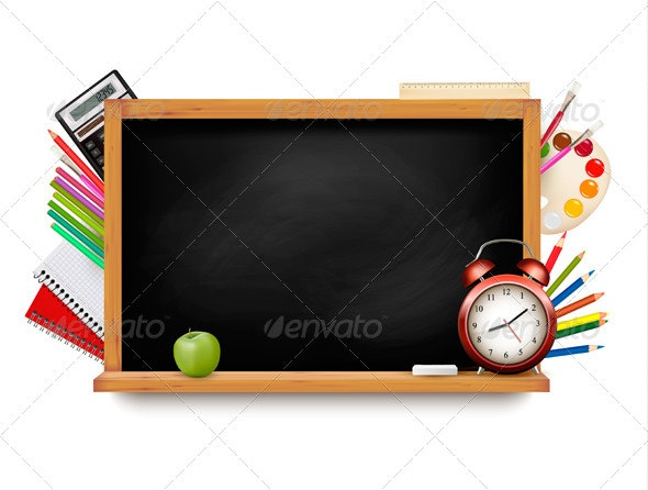 Back to School Blackboard with School Supplies - Backgrounds Business