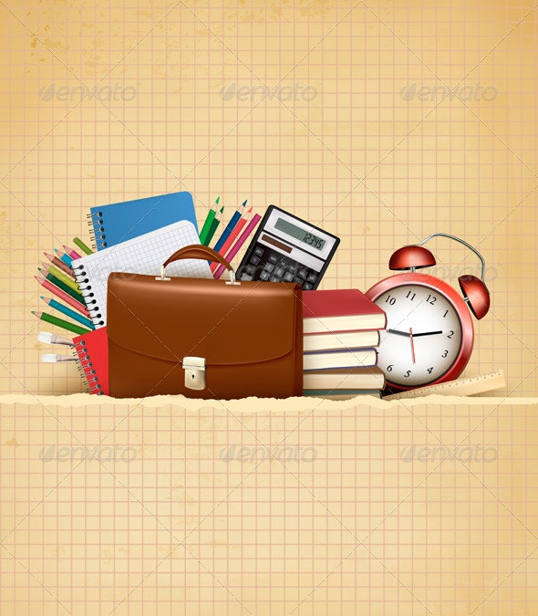 Back to School Retro Education Background  - Industries Business