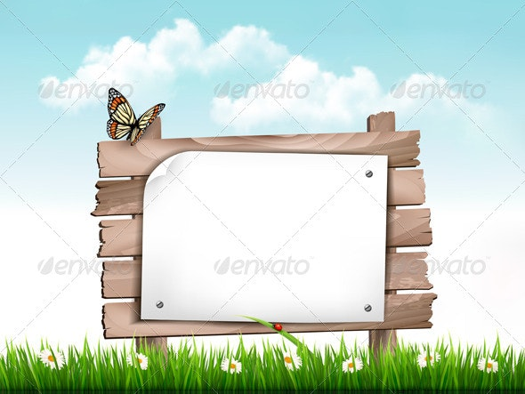 Nature Background with Green Grass and Wooden Tag - Nature Conceptual