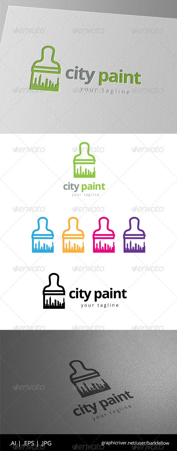 City Building Paint Logo - Buildings Logo Templates