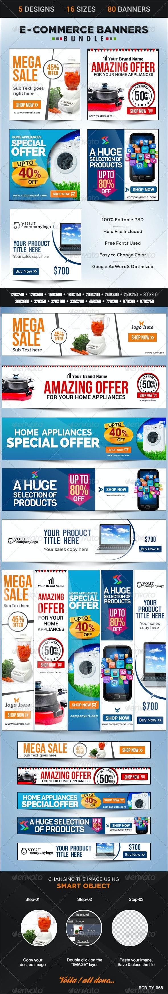 E-Commerce Banner Bundle - 5 sets - Banners & Ads Web Elements