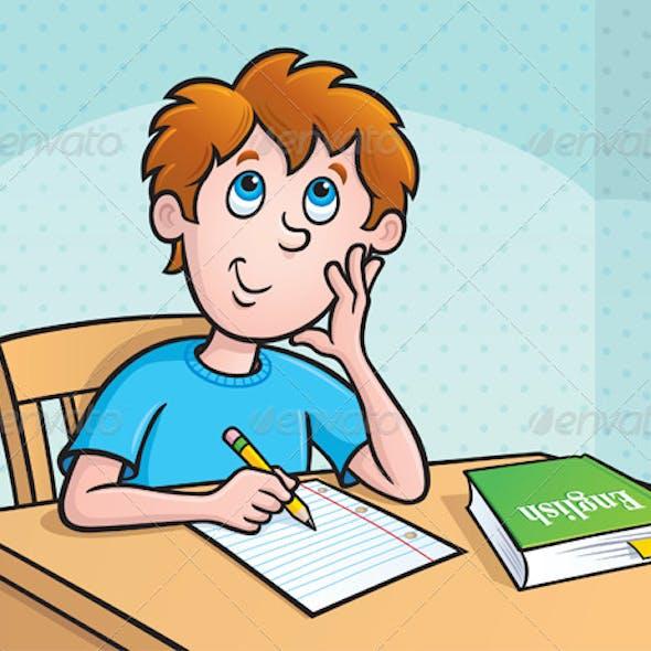 Kid Thinking What To Write