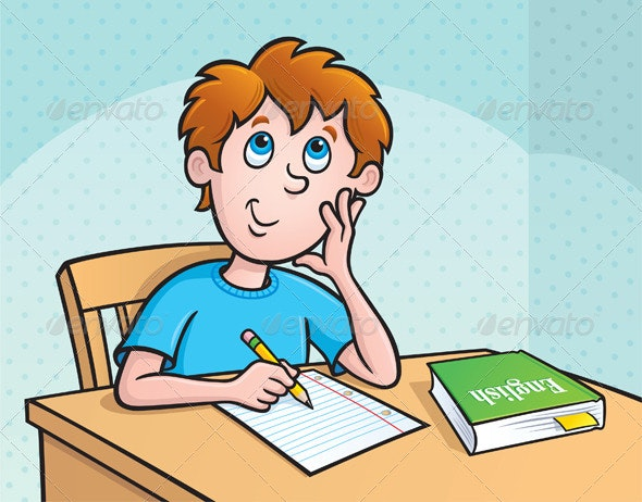 Kid Thinking What To Write - Education Backgrounds
