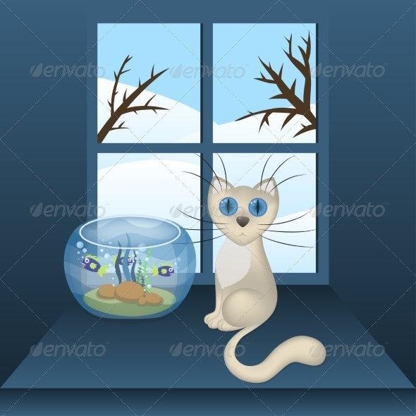 Cartoon White Cat and Aquarium with Fishes - Animals Characters