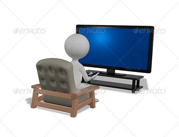 Man in Front of TV - Technology 3D Renders
