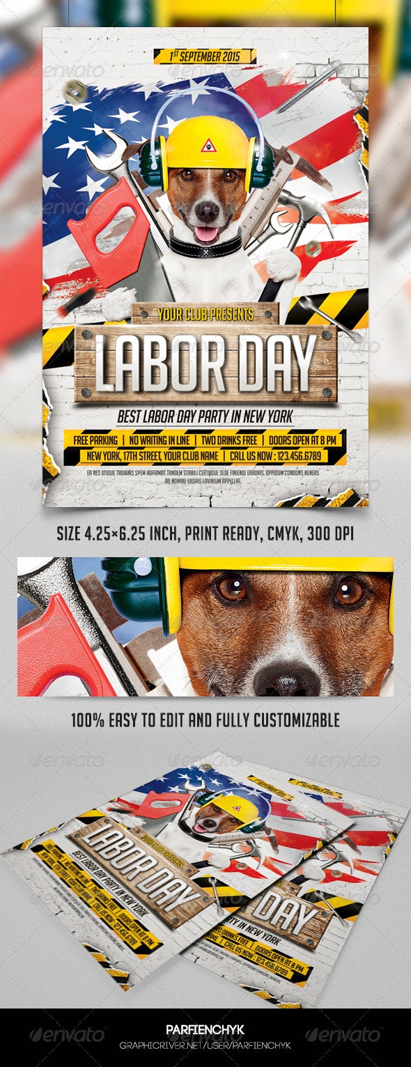 Labor Day Party Flyer Template - Clubs & Parties Events