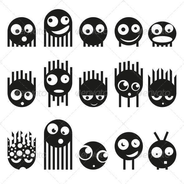 Set of Cute Monsters Vector - Monsters Characters