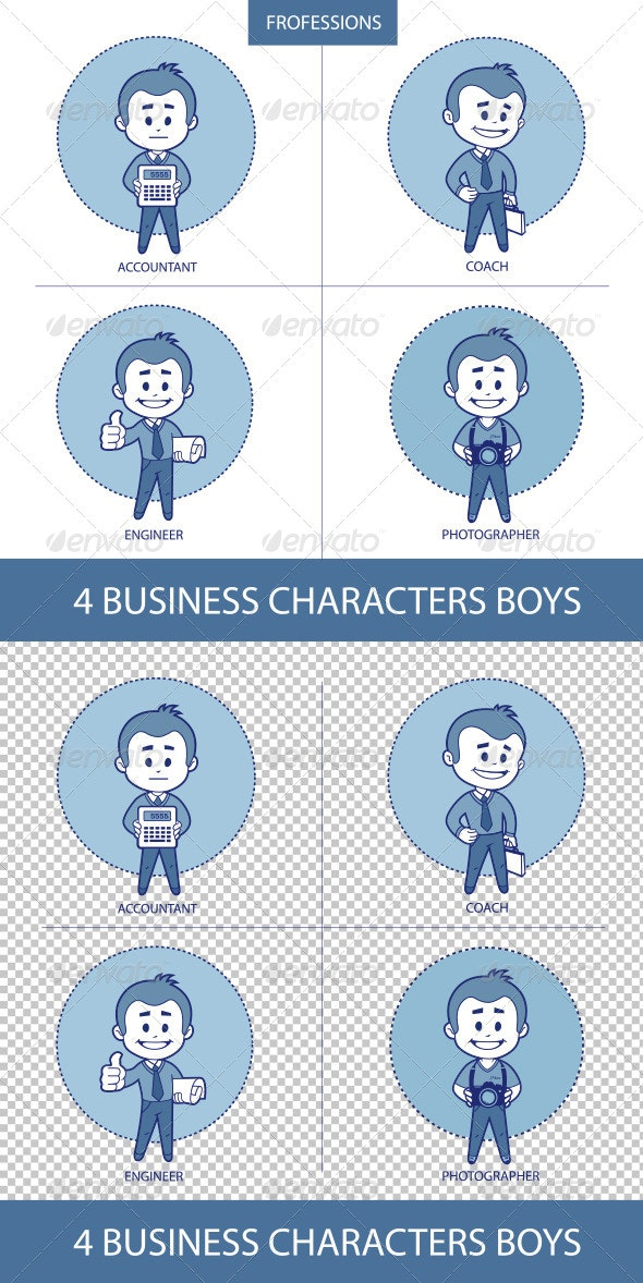 Professions Business Characters Boys - People Characters