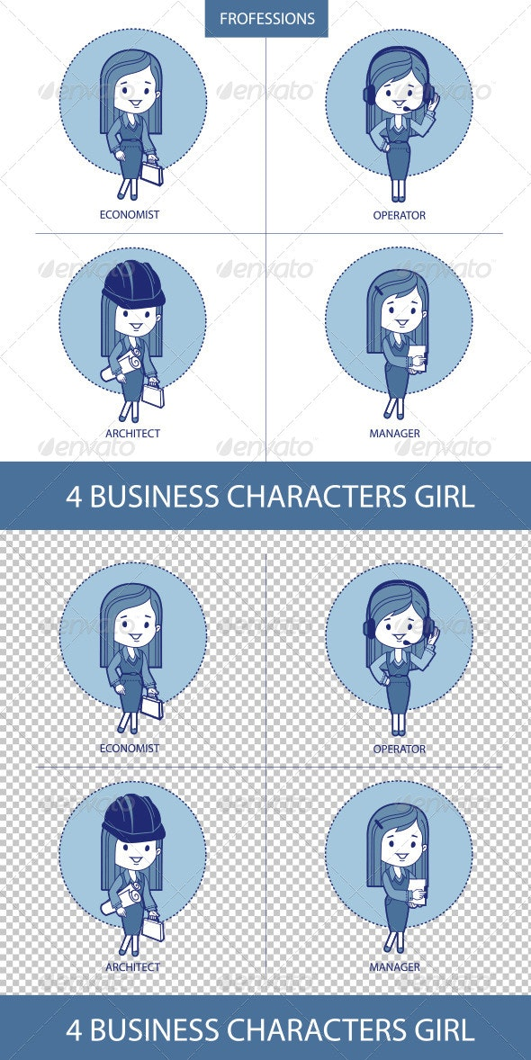 Professions Business Characters Girls - People Characters