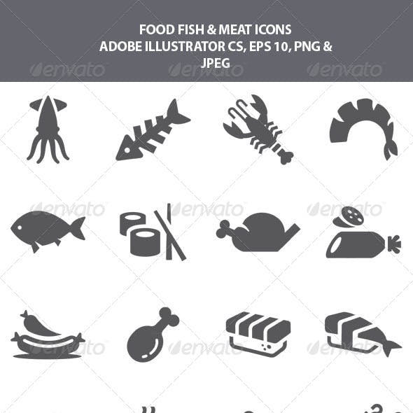 Food Fish & Meat Icons