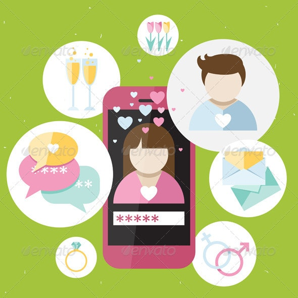 Pink Phone with Dating Icons - Communications Technology