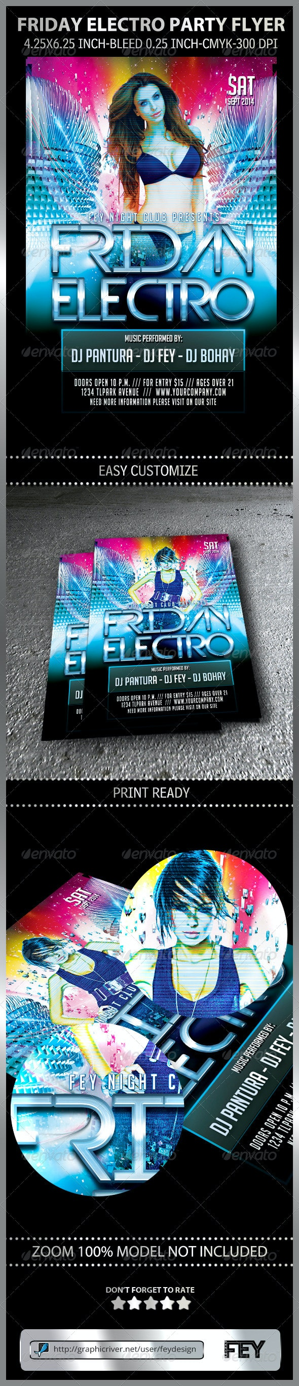 Friday Electro Party Flyer - Clubs & Parties Events