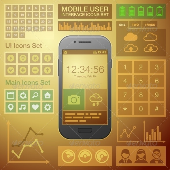 Flat Mobile UI User Interface Design Elements Kit. - Communications Technology