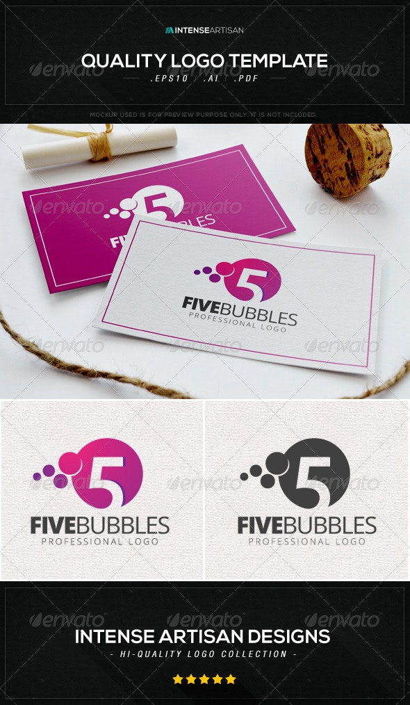 Five Bubbles Logo Template - Numbers Logo Templates