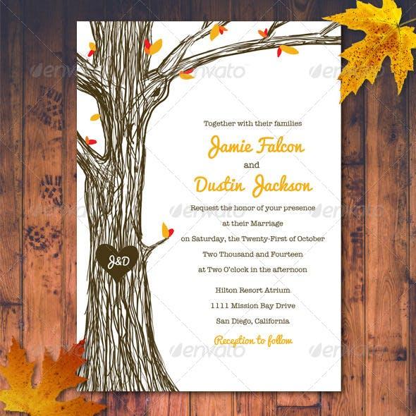 Fall / Autumn Wedding Invitation Set