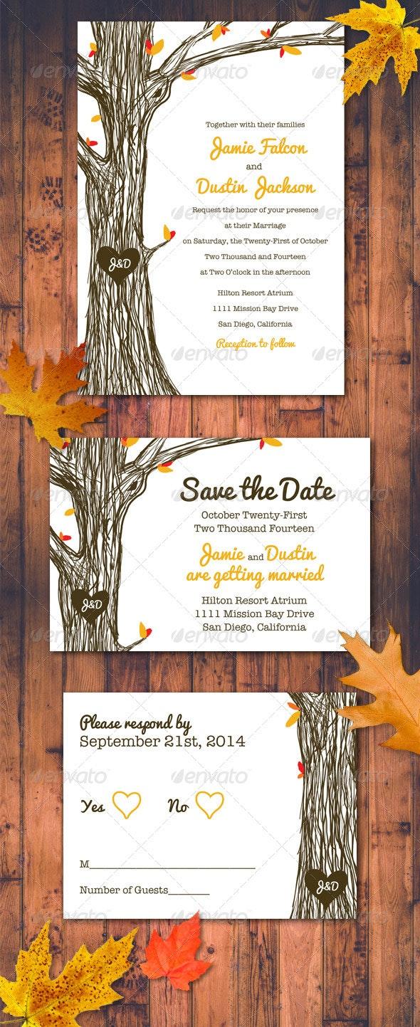 Fall / Autumn Wedding Invitation Set - Weddings Cards & Invites