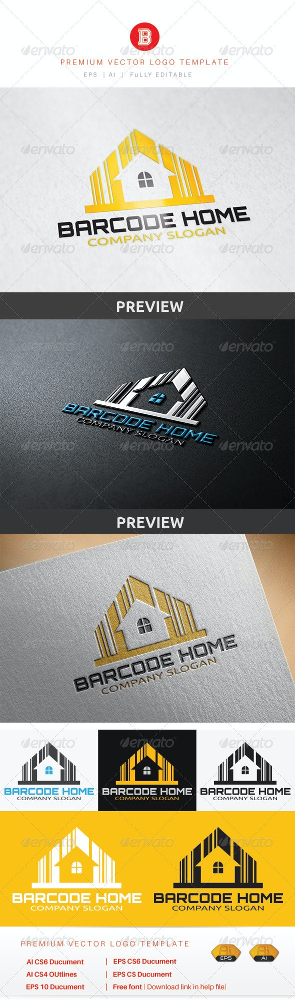 Barcode Home - Objects Logo Templates