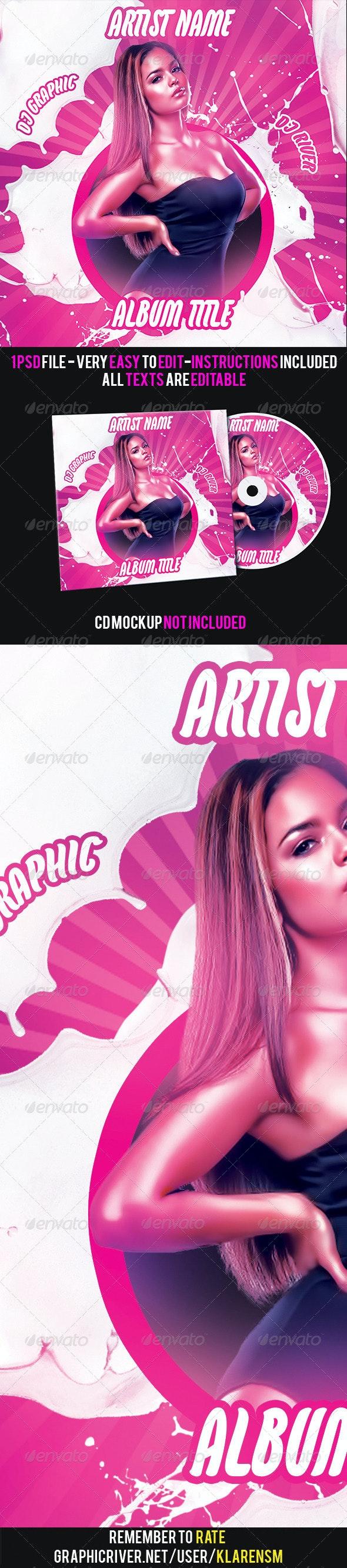 Pink Girl Mixtape Album CD Cover Template - CD & DVD Artwork Print Templates