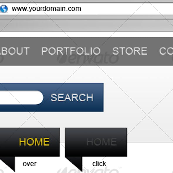 Banner style website navigation and search bars