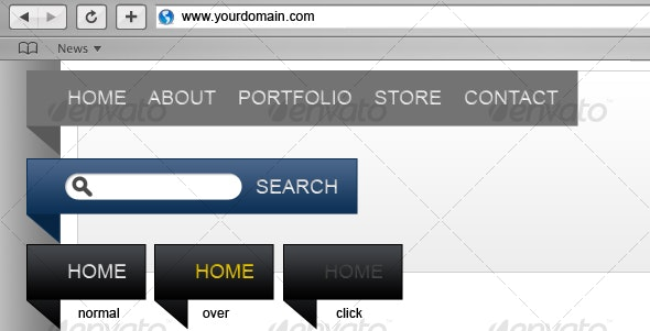 Banner style website navigation and search bars - Navigation Bars Web Elements
