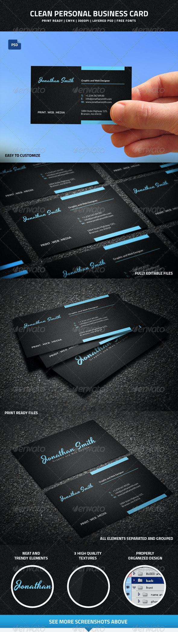 Clean Personal Business Card - 44 - Creative Business Cards