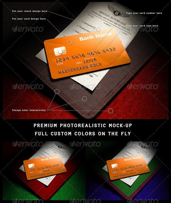 Photorealistic full-custom credit card mock-up - Print Product Mock-Ups