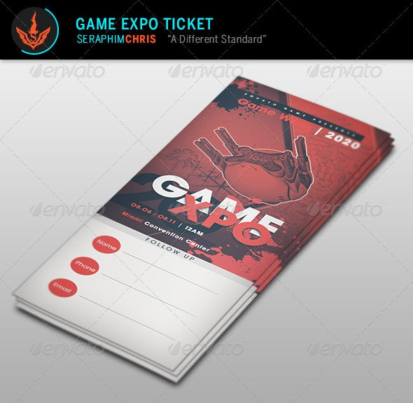 Game Expo Ticket Template - Miscellaneous Print Templates