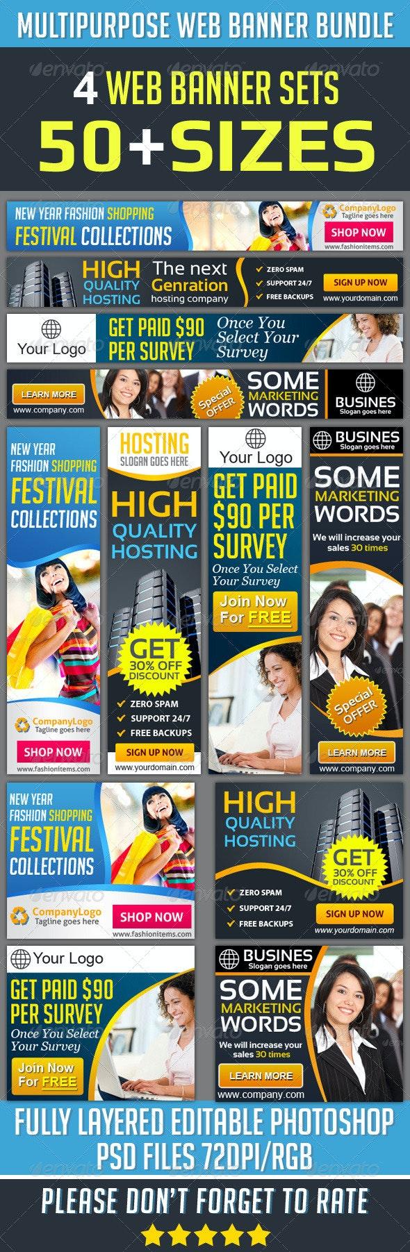 Corporate Web Banner Set Bundle - Banners & Ads Web Elements