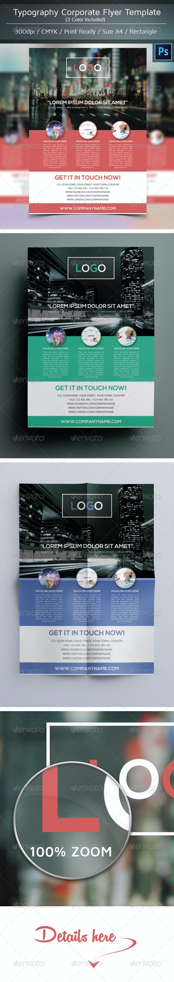 Typography Corporate Flyer Template Design - Corporate Flyers
