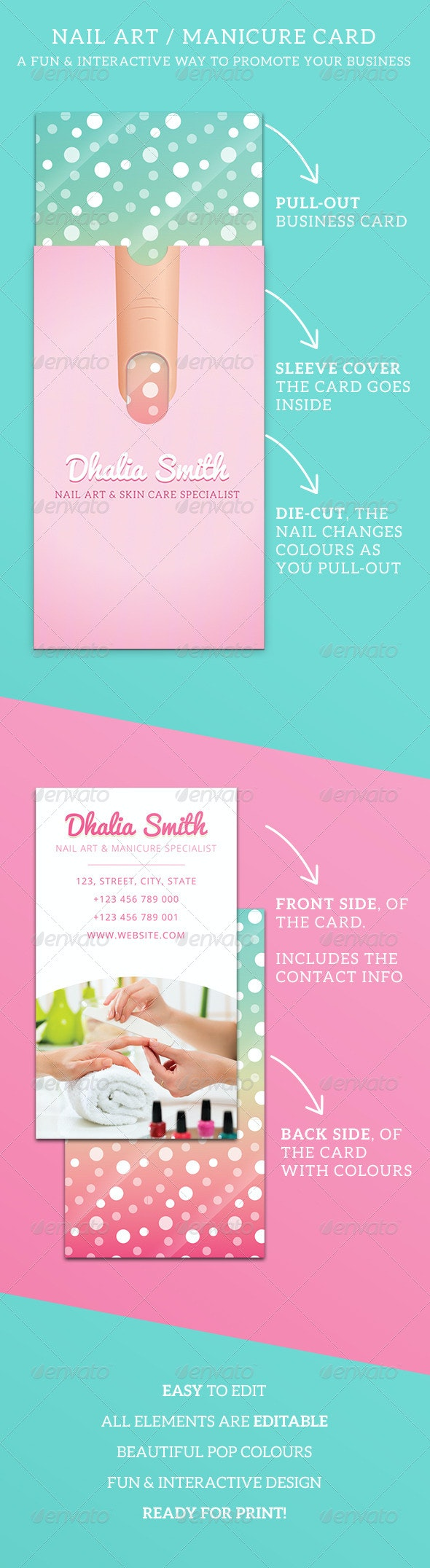 Nail Art/Manicure Business Card with Sleeve - Creative Business Cards