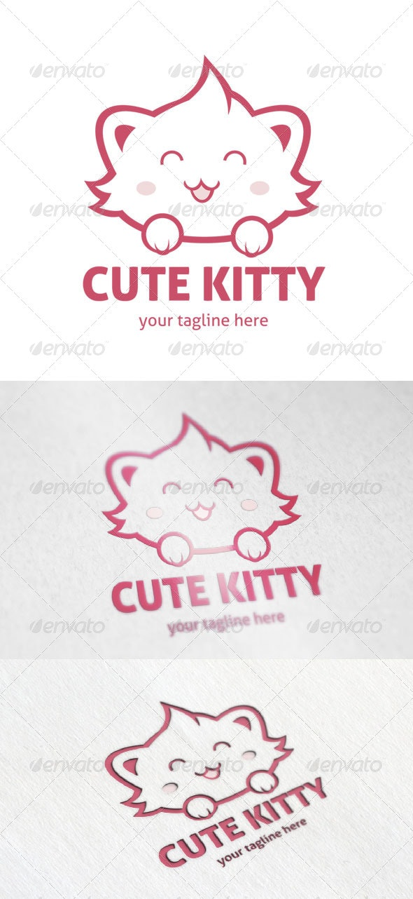 Cute Kitty - Animals Logo Templates