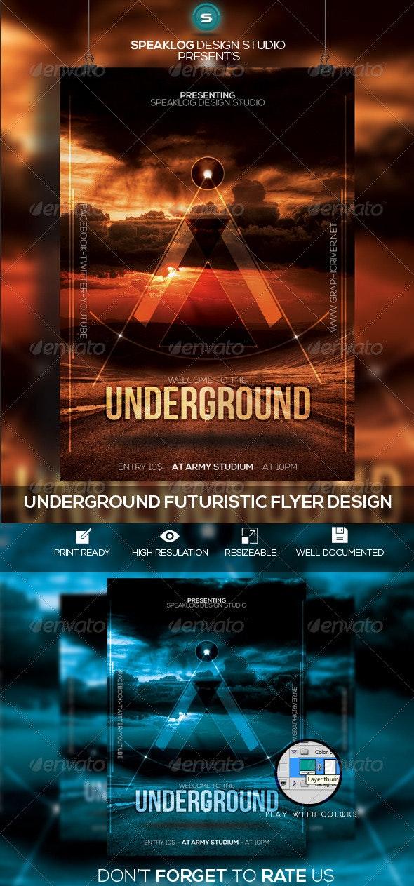Underground Futuristic Flyer Design - Clubs & Parties Events