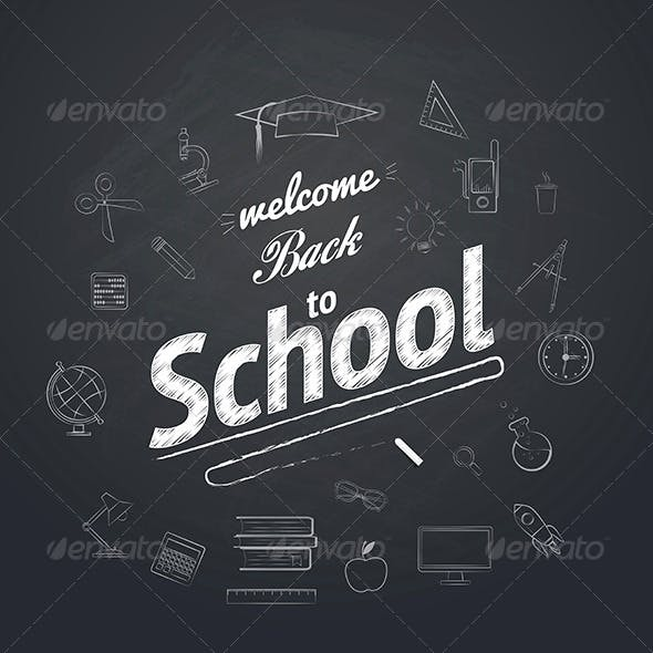 Welcome Back To School Typographical Background