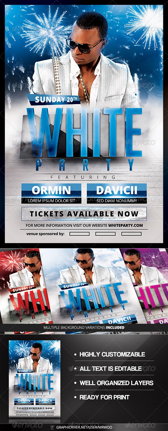 White Party Flyer v2 - Clubs & Parties Events