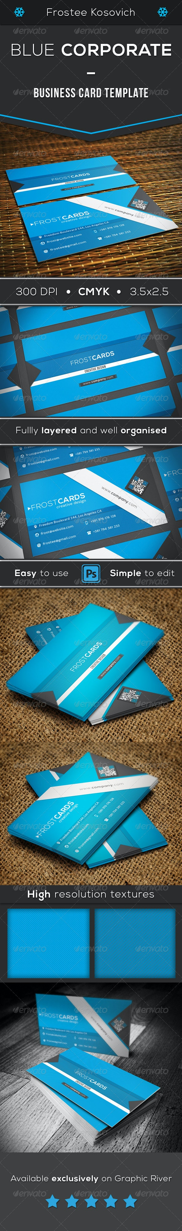 Blue Corporate Business Card Template - Corporate Business Cards