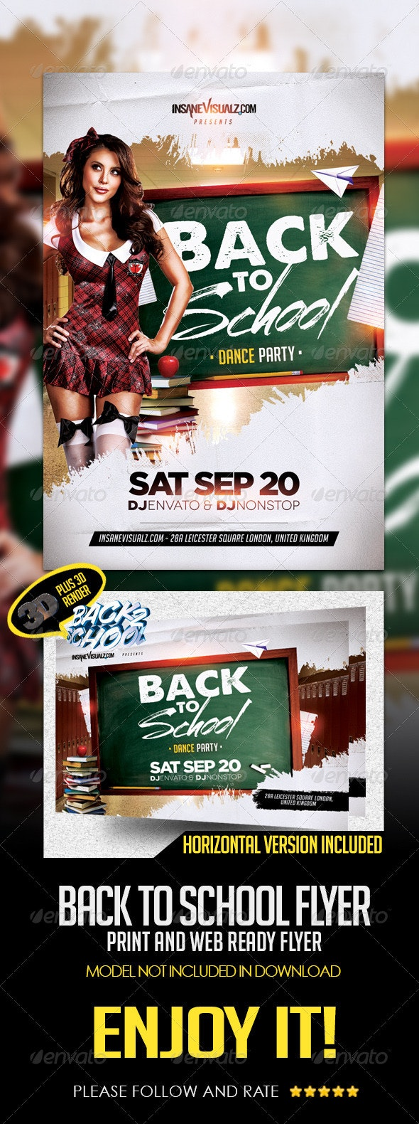 Back to School Dance Party Flyer Template - Clubs & Parties Events