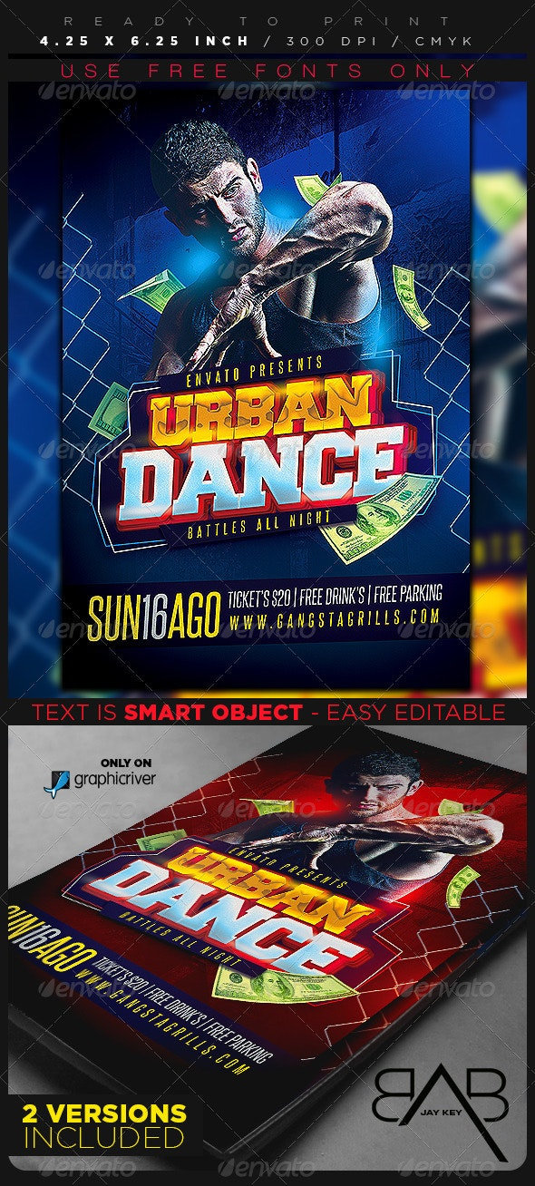 Urban Dance Flyer Template - Clubs & Parties Events