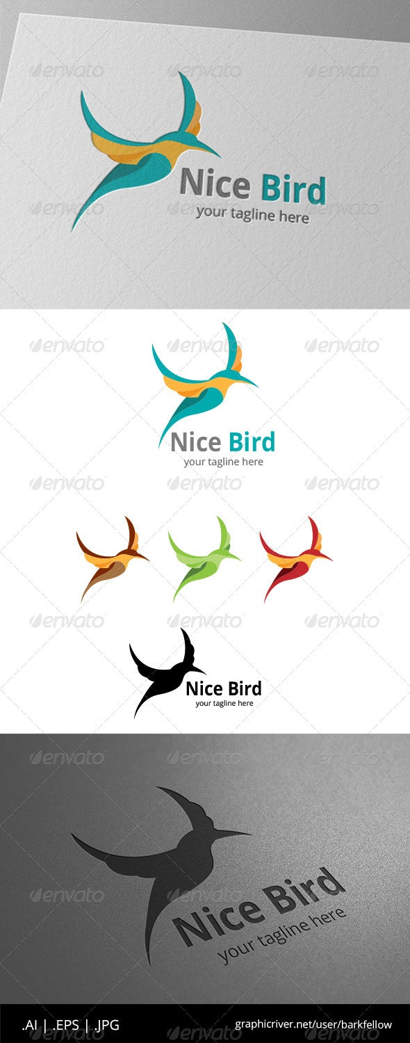 Nice Humming Bird Logo - Animals Logo Templates