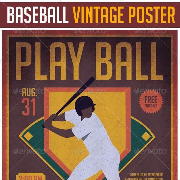 Baseball Vintage Poster