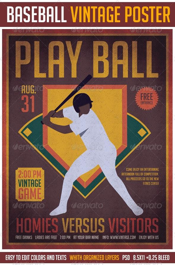 Baseball Vintage Poster - Sports Events