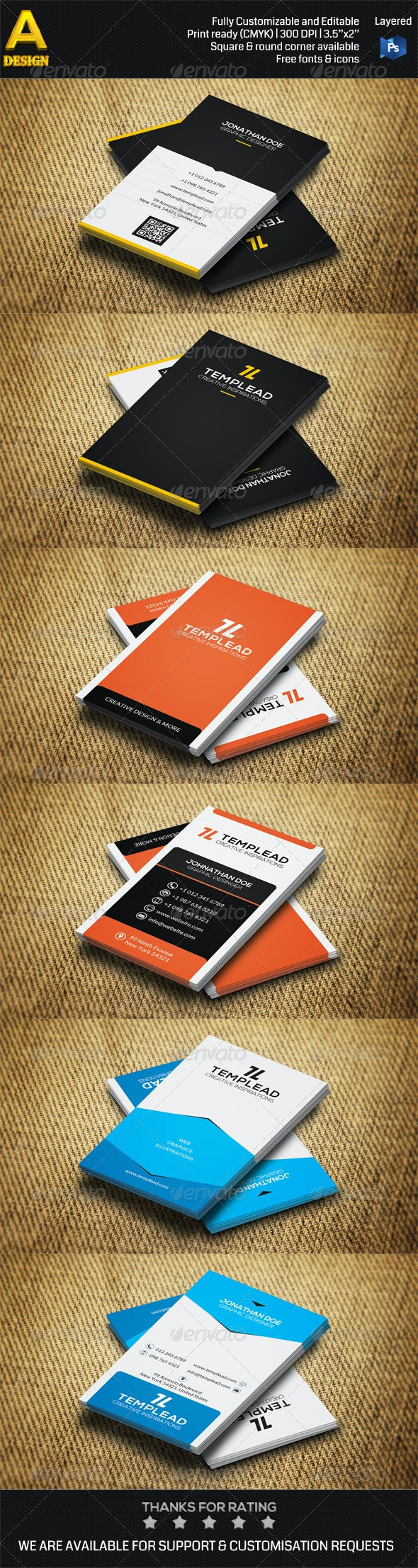 3 in 1 Corporate Business Card Bundle ANB0035 - Corporate Business Cards