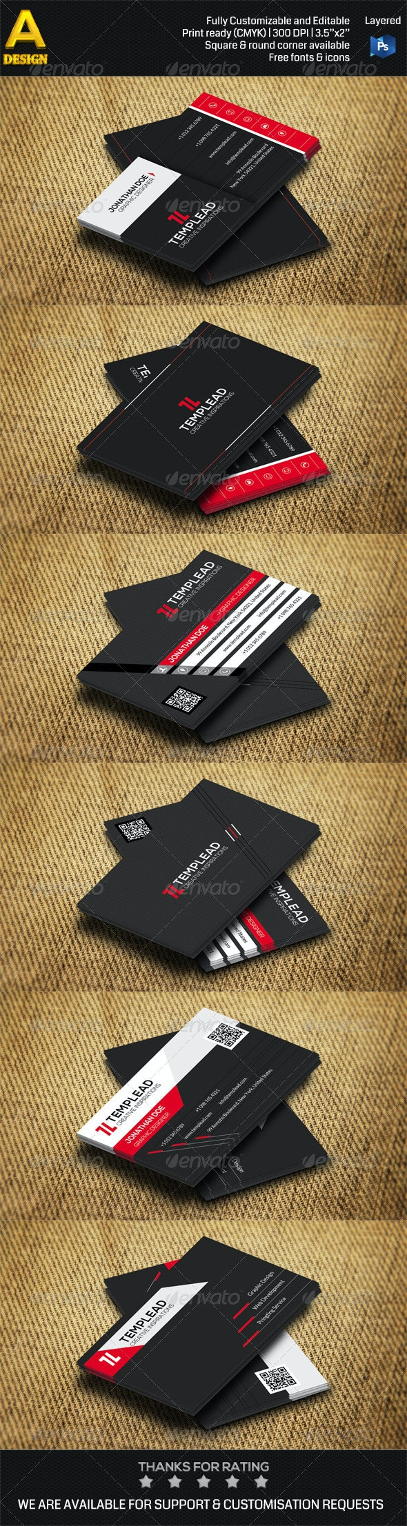3 in 1 Corporate Business Card Bundle ANB0038 - Corporate Business Cards
