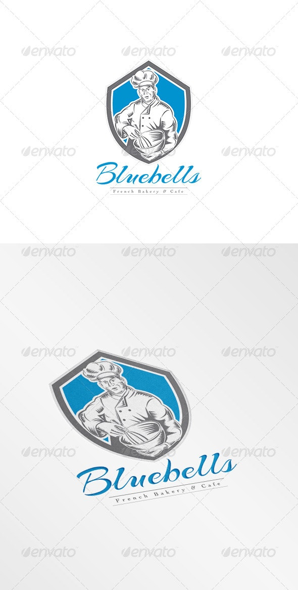 Bluebellls French Bakery and Cafe Logo - Humans Logo Templates