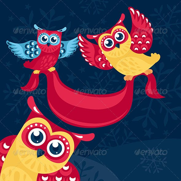 Holiday Vector Illustration With Owls