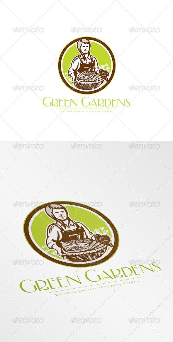 Green Gardens Organic Produce Logo - Humans Logo Templates
