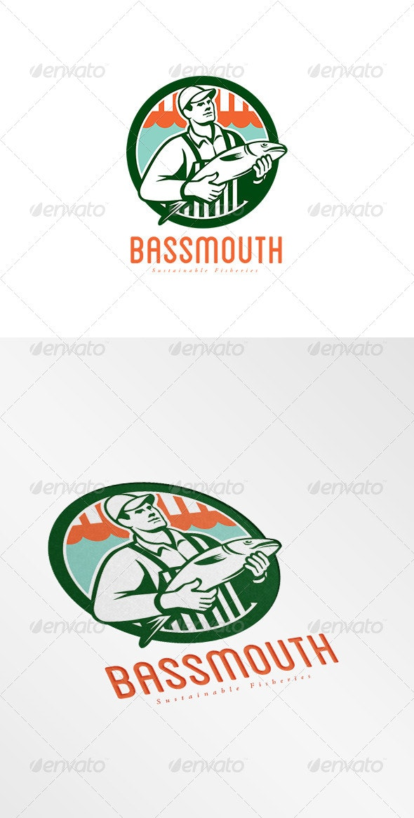 Bassmouth Sustainable Fisheries Logo - Humans Logo Templates