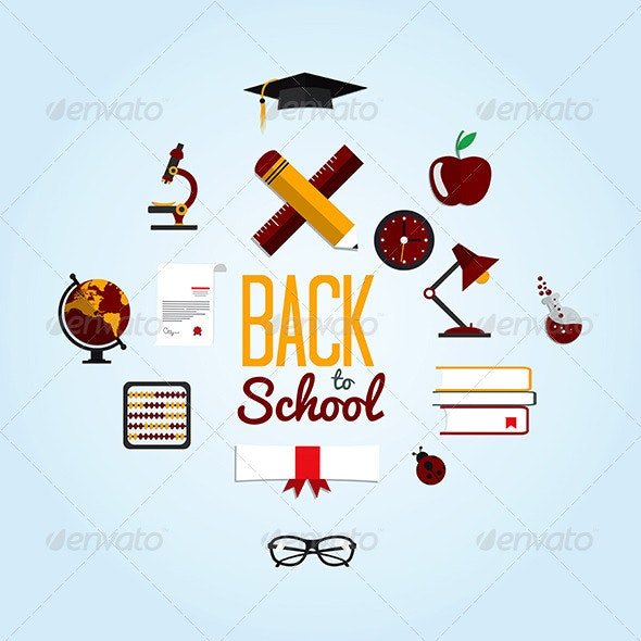 Back To School  Background With Flat Icon Set