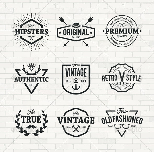 Hipster Emblems Set - Decorative Symbols Decorative