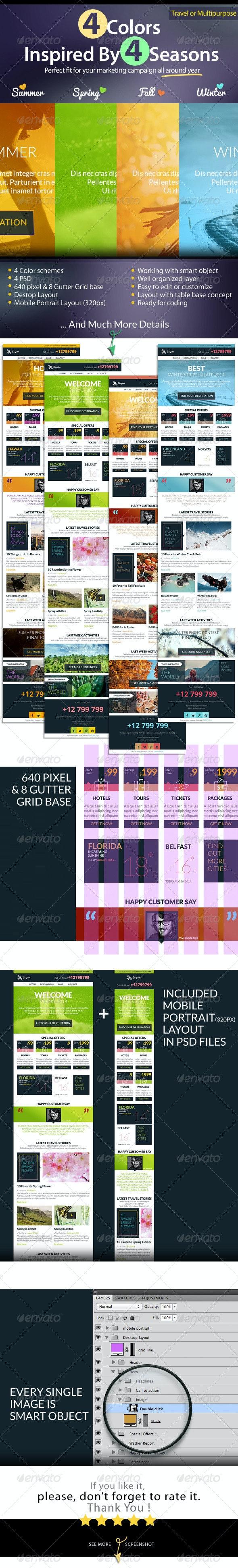 Travel or Multipurpose E-newsletter - E-newsletters Web Elements